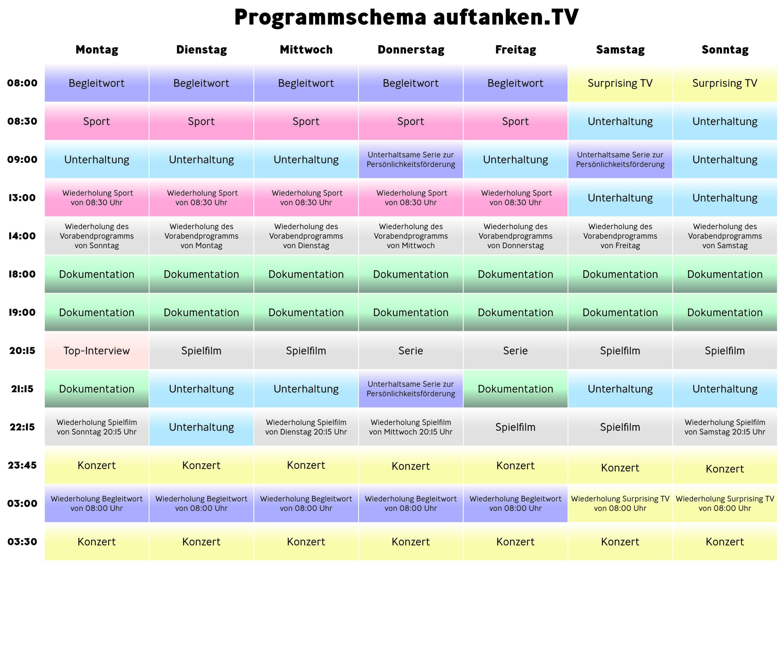 Programmschema ab März 2021
